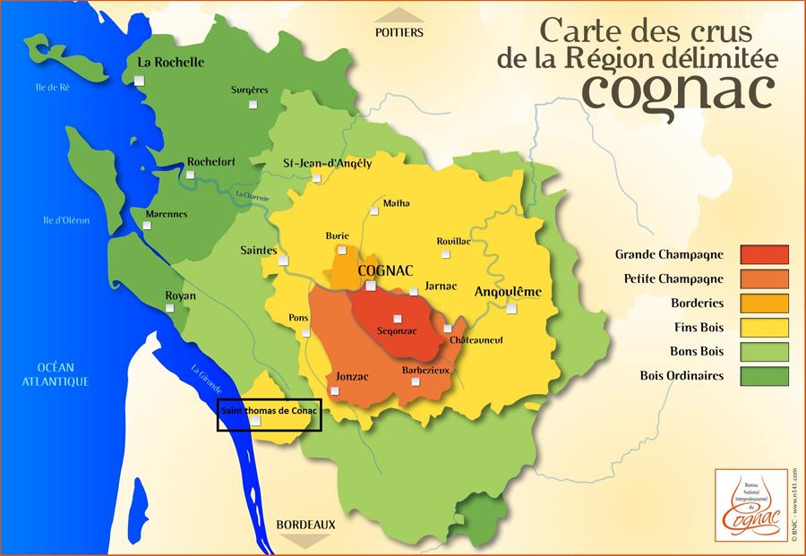 Domaine de la ville localisation du vignoble et carte de for Plan de cognac